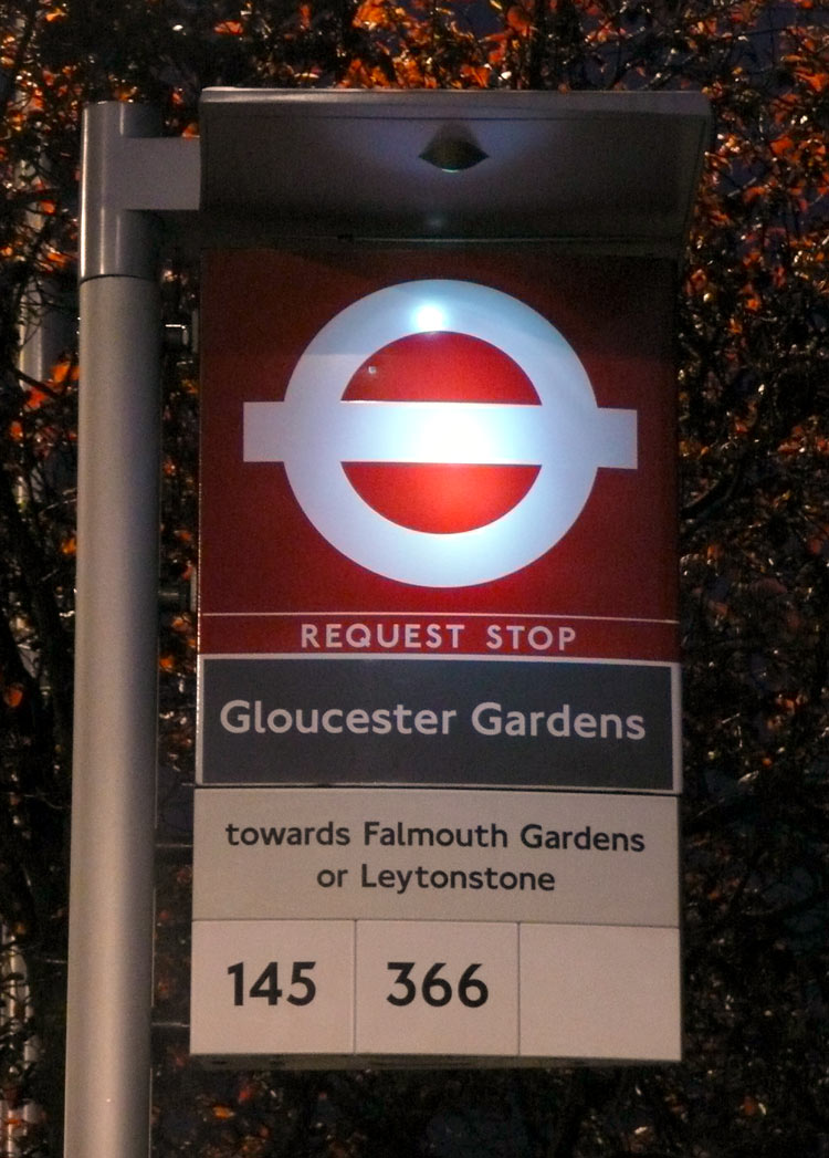 london bus stop overview