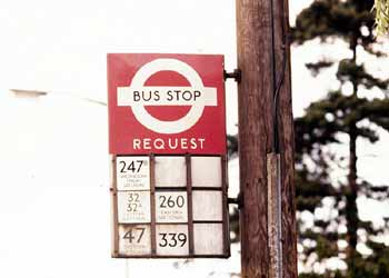 bus request telephone pole stop flag.