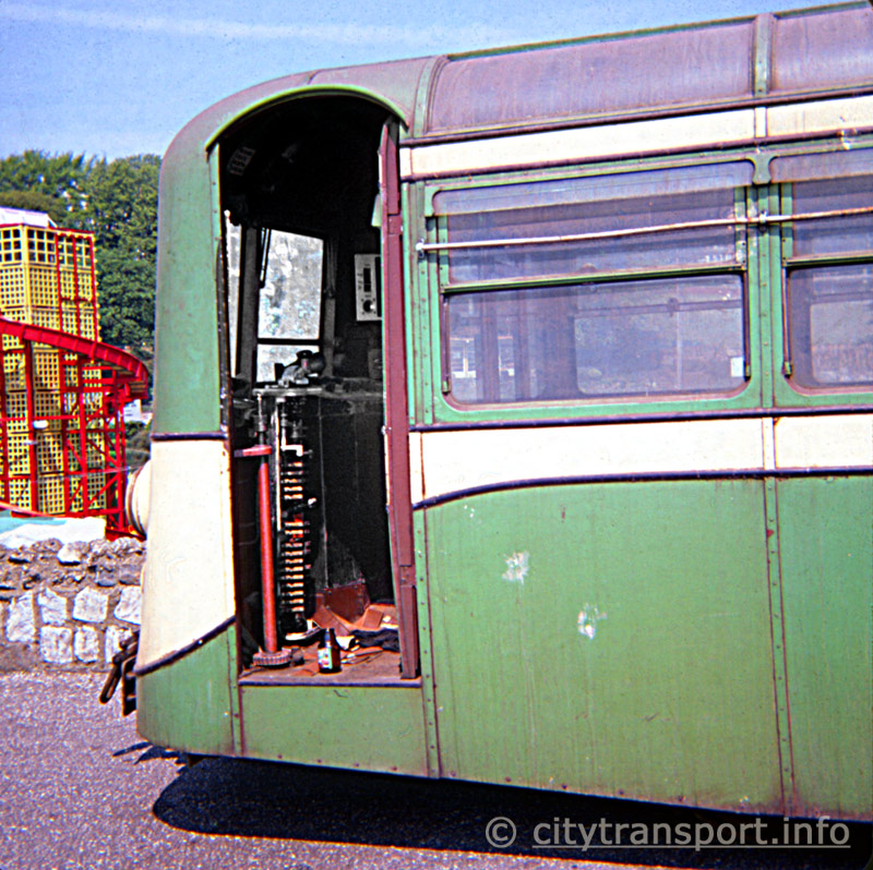 Former Southend Pier railway carriage driver's cab showing electrical control gear.