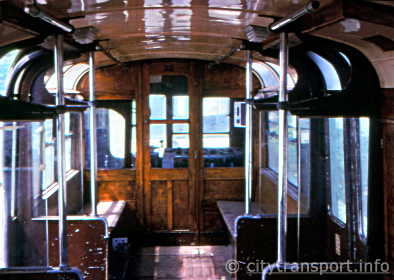 Inside former Southend Pier railway driving motor carriage looking towards the driver's cab.
