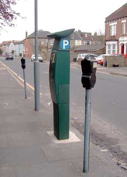 Street based pay and display machine and parking meters.