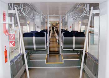 Inside a Bombardier Talent train.