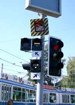 Light rail / tramway / streetcar junction signalling.