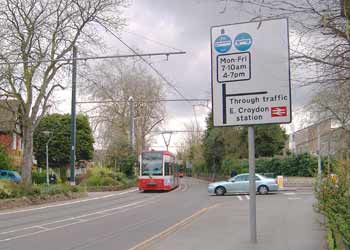 A transit mall along a residential road in Croydon.