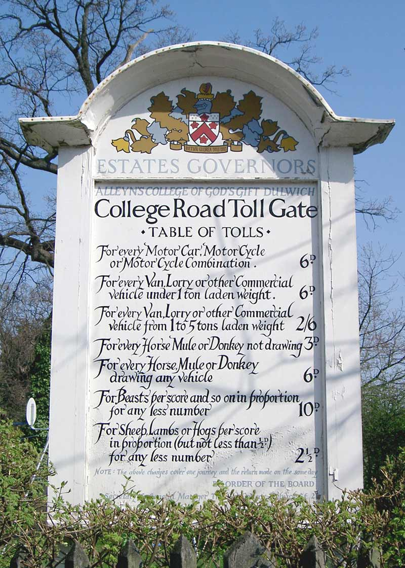 Dulwich London tollgate 'table of tolls'