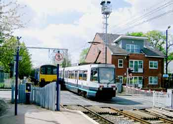 Manchester Metrolink route sharing with mainline trains.