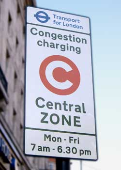 Congestion charge road sign.