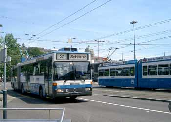 Tram / streetcar and (electric) trolleybus in Zürich Switzerland.