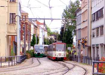 Zwickau train-tram and tram.