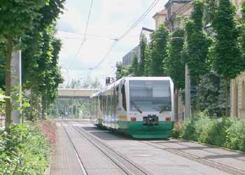 A diesel LRV trundles along a transit mall in Zwickau.