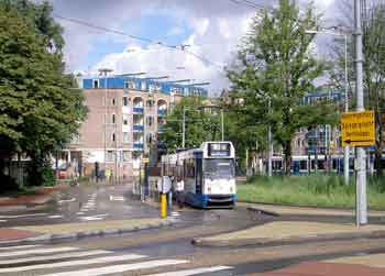 Negotiating a roundabout / traffic circle in Amsterdam.