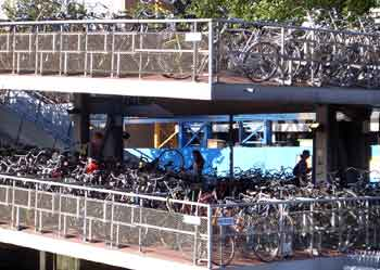 Multi story parking facility for pedal cycles.