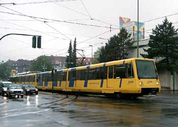 Light rail in street tramway mode in Essen.