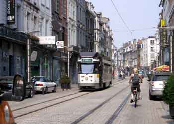 A tram glides along a 'traffic calmed' street in Gent.