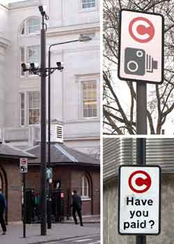 Congestion charge road signage.
