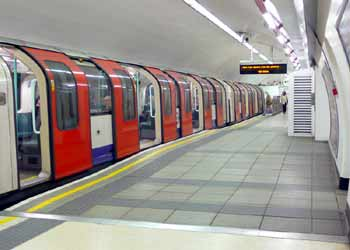 Waterloo and City Line train at Bank station.