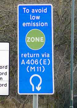 LEZ (Low Emissions Zone) signage.