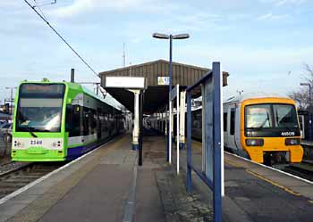 Elmers End station tram and train