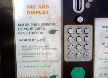 Pay and display machine requires motorists to use the keypad and enter part of their vehicles' registration number onto the ticket.