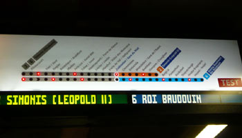 Brussels metro 'next train' describer.