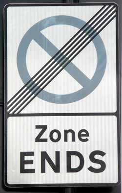 Sign at end of a residential parking zone.