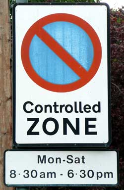 Sign at start of controlled parking zone.