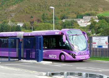 Swansea Metro StreetCar leaving the Landore Express Bus Route.