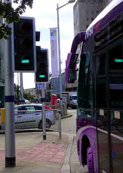 The f-t-r concept includes bus priority traffic signals.