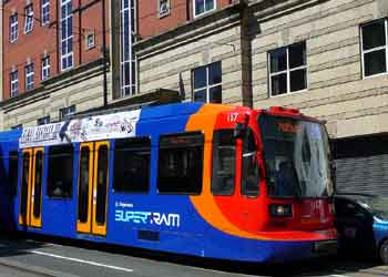 Sheffield Supertram and overhead wires using a wall rosette.