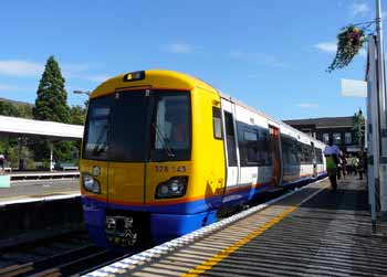 London Overground Class 378 train at New Cross Gate station.