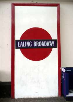 Historic station sign Ealing Broadway.