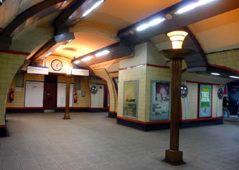 Art Deco uplighters Bounds Green station.