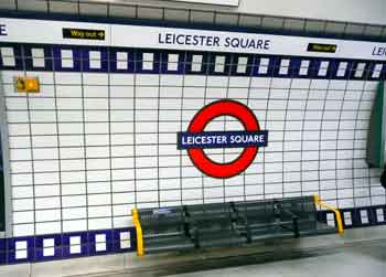 Leicester Square platform wall mural.