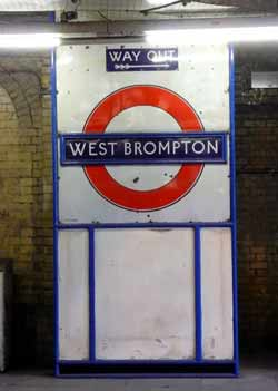 Historic station sign West Brompton.