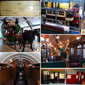 Montage of views from inside the London Transport Museum.