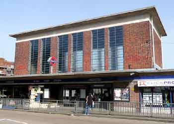 street view of Art Deco Acton Town station.