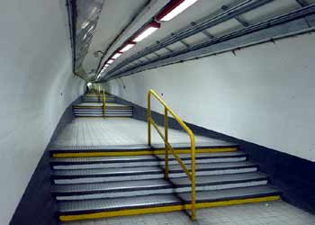 Bank station London stepped walkway.