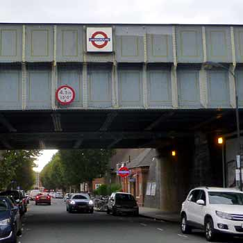 East Acton station - both bridges over roadway.