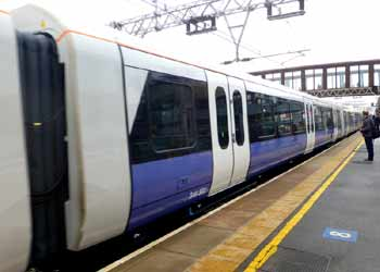 Class 345 train Crossrail Elizabeth Line Stratford station.