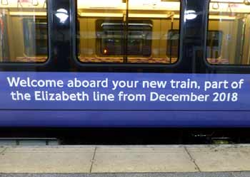 TFL Rail Elizabeth Line message on train side.