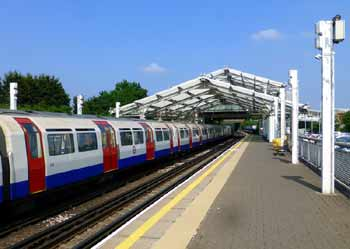 Piccadilly line tube train at Hillingdon station.