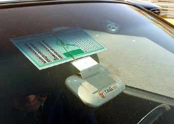 car windscreen toll payment transponder