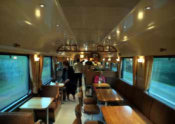 Dining car seating area Finland train.