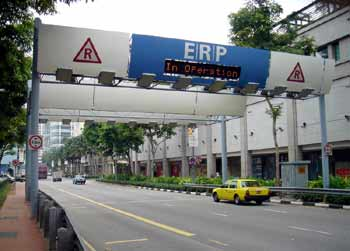 Singapore ERP (Electronic Road Pricing) entry gantry.