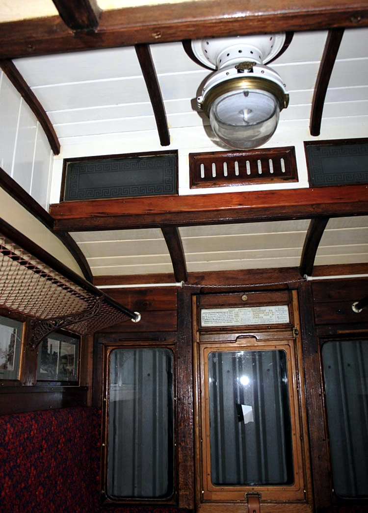 inside GWR clerestory roof coach.