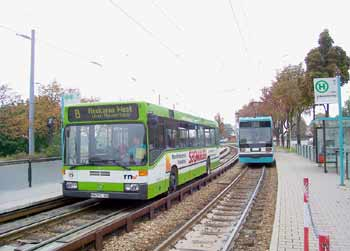Mannheim spurbus O-Bahn guided bus sharing tracks with a tram strassenbahn.