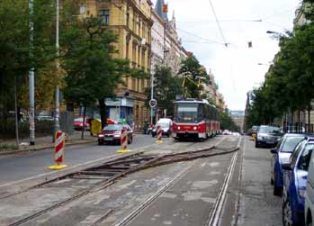 Temporary tram crossover track in Prague
