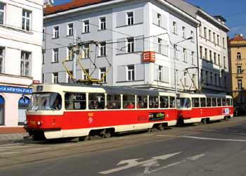 A coupled set of Tatra T3 non-articulated (rigid) trams in Prague.