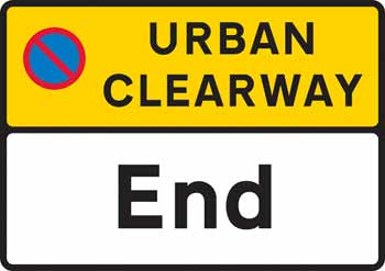 Sign at the end of an urban clearway.