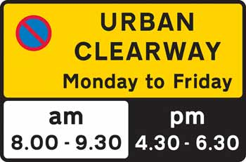 Sign at the start of an urban clearway.